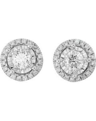 Effy White Gold 1/2 ct. t.w. Diamond Illusion Cluster Earrings in 14K White Gold