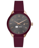 iTouch Burgundy Connected Women's Hybrid Smartwatch Fitness Tracker: Rose Gold Case with Merlot Leather Strap