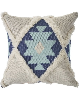 LR Home Tufted Winter Paradise Blue / Off - White 20 in. x 20 in. Throw Pillow