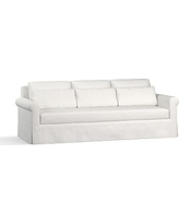 "York Roll Arm Slipcovered Deep Seat Grand Sofa 98"" with Bench Cushion, Down Blend Wrapped Cushions, Performance Slub Cotton White"