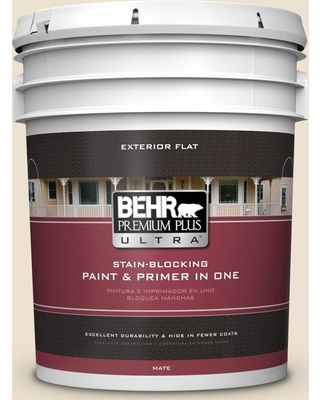BEHR Premium Plus Ultra 5 gal. #PPU7-15 Ivory Lace Flat Exterior Paint and Primer in One