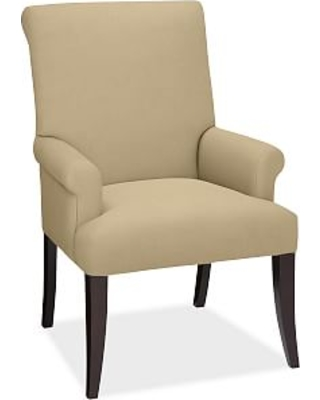 PB Comfort Roll Upholstered Dining Arm Chair, Performance Everydaysuede(TM) Oat