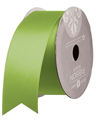 """Jillson Roberts Bulk Spool 1.5"""" x 50 Yards Double-Faced Satin Ribbon Available in 7 Colors, Lime Green"""