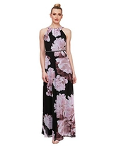 S.L. Fashions Women's Sleeveless Printed Maxi Dress, Black/Multi Pink, 8