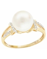 PearLustre by Imperial 14k Gold Freshwater Cultured Pearl and Diamond Accent Ring, Women's, Size: 6, White