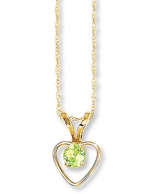 Jared The Galleria Of Jewelry Peridot Heart Necklace 14K Yellow Gold