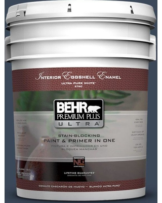 BEHR Premium Plus Ultra 5 gal. #M500-7 Very Navy Eggshell Enamel Interior Paint and Primer in One