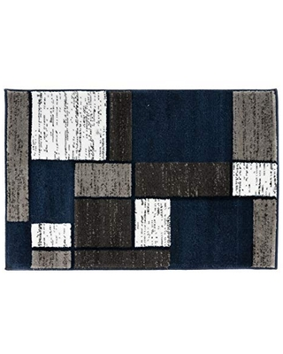 Rugshop Contemporary Modern Boxes Area Rug 2' x 3' Navy