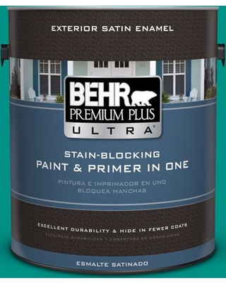 BEHR ULTRA 1 gal. #490B-6 Emerald Coast Satin Enamel Exterior Paint and Primer in One