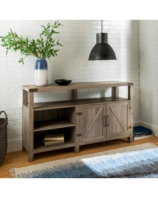 Walker Edison Furniture Company 58 in. Gray Wash Wood TV Stand 65 in. with Adjustable Shelves, Grey Wash