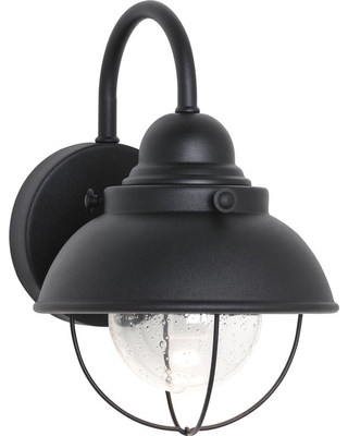 Sea Gull Lighting Sebring Small Black Outdoor 11.25 in. Integrated LED Wall Mount Lantern
