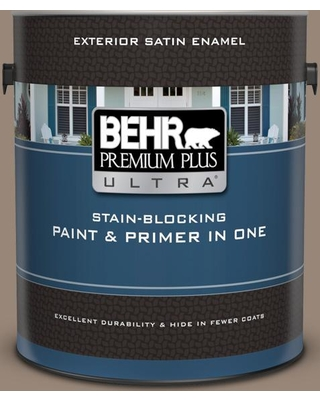 BEHR ULTRA 1 gal. #PPU5-06A Light Truffle Satin Enamel Exterior Paint and Primer in One