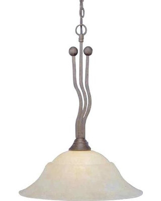 Toltec Lighting 221-BRZ-53813 Wave One-Light Down light Pendant Bronze Finish with Amber Marble Glass, 20-Inch