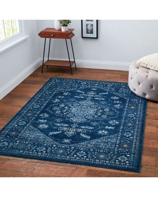 Chelsea Border 5'3 x 6'11 Area Rug in Blue