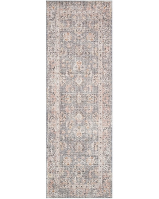 Gray and Apricot Persian Style Icaria Floor Runner: Gray/Orange by World Market