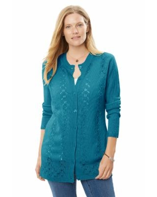 Plus Size Women's Long-Sleeve Pointelle Cardigan Sweater by Woman Within in Deep Teal (5X)
