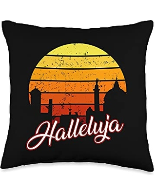 Vintage Christian Saying Worshipping Hallelujah Vintage Christian Praise Religion Worship Throw Pillow, 16x16, Multicolor
