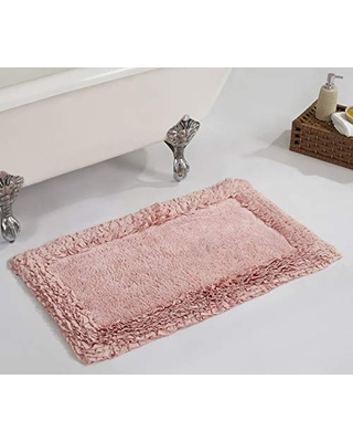 """Better Trends Shaggy Border Collection is Ultra Soft, Plush and Absorbent Tufted Bath Mat Rug 100% Cotton in Vibrant Colors, 21"""" x 34"""" Rectangle, Pink"""