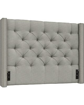 Harper Upholstered Tufted Low Headboard with Bronze Nailheads, Queen, Premium Performance Basketweave Light Gray