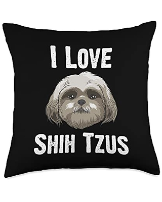 Best Pup Breed & Little Lion Fur Floppy Presents Funny Shih Tzu Gift For Men Women Pet Dog Puppy Owner Animal Throw Pillow, 18x18, Multicolor