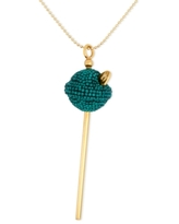 Simone I. Smith 18K Gold over Sterling Silver Necklace, Medium Green Crystal Lollipop Pendant