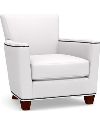 Irving Square Arm Upholstered Armchair with Bronze Nailheads, Polyester Wrapped Cushions, Twill White