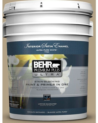 BEHR ULTRA 5 gal. #PPU8-07 Chamois Tan Satin Enamel Interior Paint and Primer in One