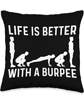 Best Burpees Cardio Aerobic Squat Training Designs Cool Burpee Gift For Men Women Fitness Workout Gym Exercise Throw Pillow, 16x16, Multicolor