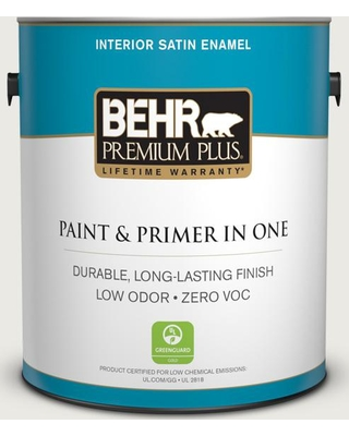 BEHR Premium Plus 1 gal. #PPU24-14 White Moderne Satin Enamel Low Odor Interior Paint and Primer in One