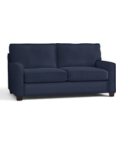 "Buchanan Square Arm Upholstered Loveseat 77.5"", Polyester Wrapped Cushions, Twill Cadet Navy"