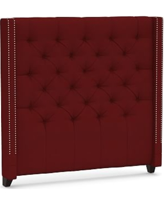 Harper Upholstered Tufted Tall Headboard with Pewter Nailheads, Queen, Twill Sierra Red