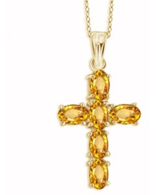 Jewelonfire Sterling Silver, Gold over Sterling Silver Citrine Gemstone Cross Pendant (White - White - Sterling Silver)