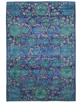 Hand-knotted Signature Collection Blue Wool Rug - ECARPETGALLERY - 6'0 x 8'10