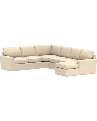 Pearce Square Arm Slipcovered Left Arm 4-Piece Wedge Sectional, Down Blend Wrapped Cushions, Performance Everydayvelvet(TM) Buckwheat