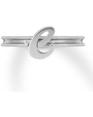 Alex Woo Letter E Autograph Ring Sterling Silver