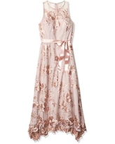 Tahari ASL Women's Sleeveless Sequin Knit Gown, Blush Floral Embroidered, 10