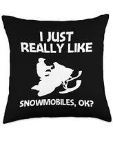 Best Snowmobiler & Winter Racing Skimobile Designs Funny Gift for Men Women Snowmobiling Ice Sport Throw Pillow, 18x18, Multicolor