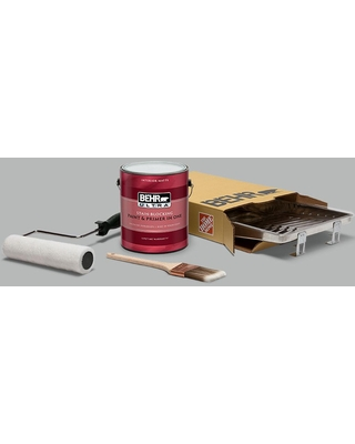 Remarkable Deals On Behr 1 Gal N460 3 Lunar Surface Ultra Extra Durable Flat Interior Paint And 5 Piece Wooster Set All In One Project Kit