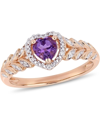 Miadora 10k Rose Gold Amethyst and Diamond Accent Heart Halo Engagement Ring (5.5)