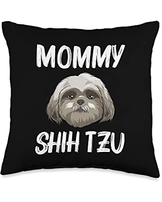 Best Pup Breed & Little Lion Fur Floppy Presents Funny Shih Tzu Gift For Mom Mother Dog Puppy Owner Animal Throw Pillow, 16x16, Multicolor