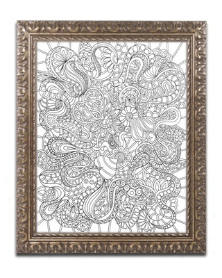 """Trademark Fine Art """"Mixed Coloring Book 44"""" Canvas Art by Kathy G. Ahrens, Gold Ornate Frame"""