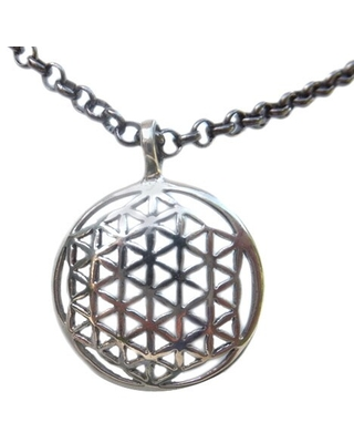Handmade White Brass Flower of Life Necklace by Spirit (Indonesia) (Brass - White - Nature Inspired/Chain/Pendant)