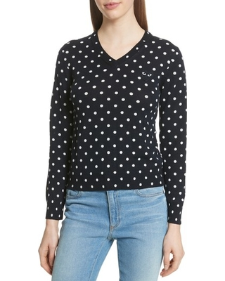 Women's Comme Des Garcons Play Polka Dot Jacquard Wool Sweater, Size Large - Blue