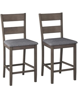 CorLiving Tuscany Washed Gray Counter Height Dining Chair (Set of 2)
