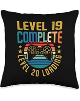 BCC Vintage Gamer Birthday Party Shirts & Gifts 19 Complete Level 20 Loading 19th Birthday Video Gamer Throw Pillow, 16x16, Multicolor