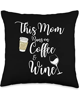 This Mom Runs On Coffee And Wine Gift Co This Mom Runs On Coffee And Wine Caffeine Lover Throw Pillow, 16x16, Multicolor