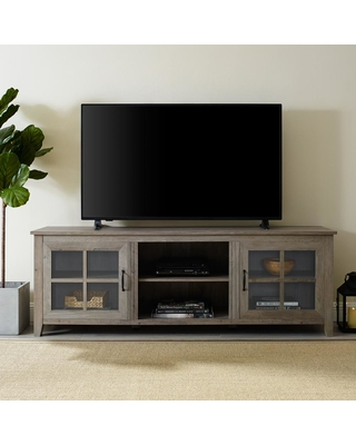 Walker Edison Furniture Company 70 in. Gray Wash Composite TV Stand 75 in. with Doors, Grey Wash