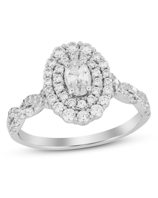 Jared Diamond Engagement Ring 7/8 ct tw Oval/Round 14K White Gold