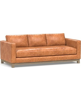 """Jake Leather Sofa 85"""" with Wood Legs, Down Blend Wrapped Cushions, Statesville Caramel"""
