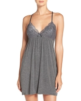 Women's Pj Salvage Lace Racerback Jersey Chemise, Size X-Large - Grey